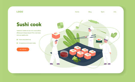 Restaurant chef cooking rolls and sushi web banner or landing page. Sushi chef in apron with cooking tool. Professional worker on the kitchen. Isolated vector illustration in cartoon style