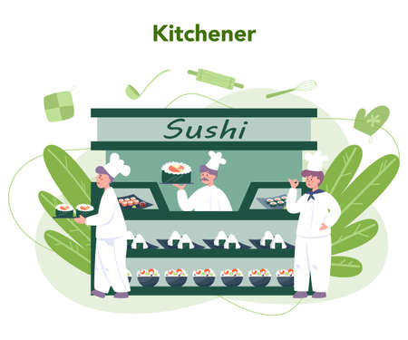 Restaurant chef cooking rolls and sushi. Sushi chef in apron with cooking tool. Professional worker on the kitchen. Isolated vector illustration in cartoon style Illustration