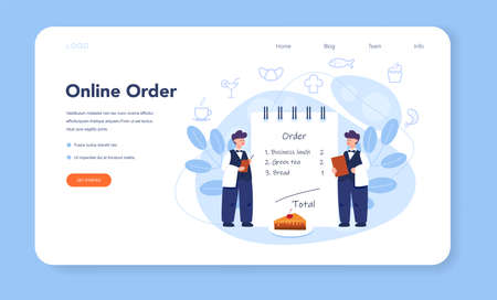 Waiter web banner or landing page set. Restaurant staff in the uniform, catering service. Table reservation and online order. Isolated vector illustration in cartoon style