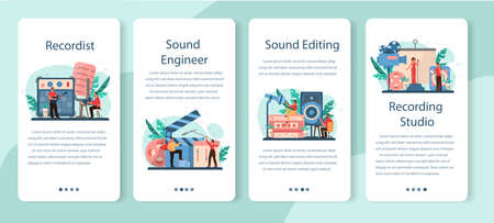 Sound engineer mobile application banner set. Music production