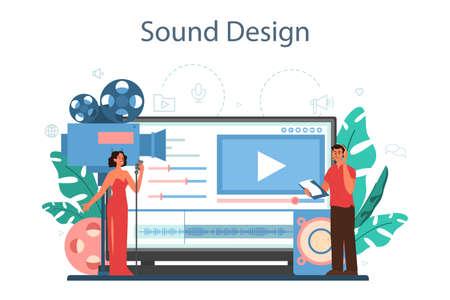 Sound engineer online service or platform. Music production Vetores