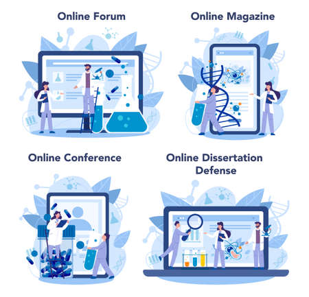 Geneticist online service or platform set. Medicine and science Illustration