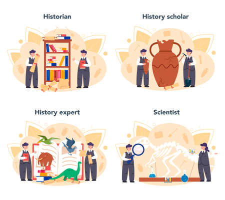 Historian concept. History science, paleontology, archeology. Knowledge