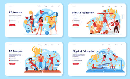 Physical education lesson school class web banner or landing page set. 向量圖像