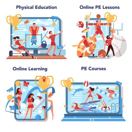 Physical education lesson school class online service or platform set.