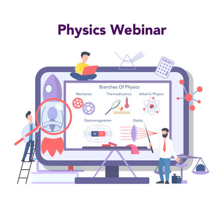 Physics school subject online education service or platform. Scientist