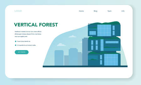Ecology web banner or landing page. Eco-friendly house building Illustration