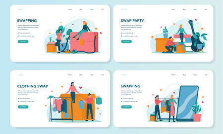 Swap party or flea market web banner or landing page set. Clothes