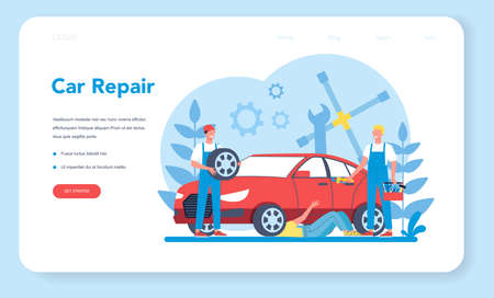 Car service web banner or landing page. People repair car using Иллюстрация