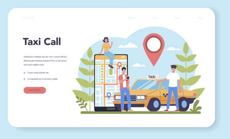 Taxi service web banner or landing page. Yellow taxi car. Automobile cab with driver inside. Idea of public city transportation. Isolated flat illustration Vektorové ilustrace