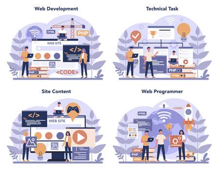 Web programming concept set. Coding, testing and writing program  イラスト・ベクター素材