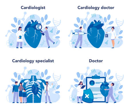 Cardiology set. Cardiologist deal with the disorder of the heart. Illustration