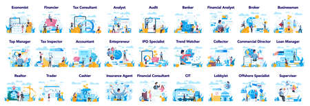 Financial or business profession set. Business character making Vektorové ilustrace