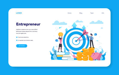 Enterpreneur web banner or landing page. Idea of lucrative business,