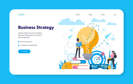 Business analyst web banner or landing page. Business strategy