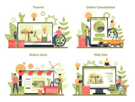 Car service online service or platform on differernt device concept set.