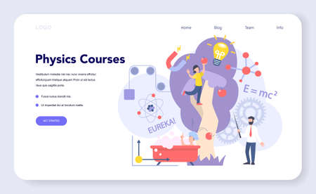 Physics school subject web banner or landing page. Scientist explore electricity, magnetism, light wave and forces. Theoretical and practical study. Physics course and lesson. Vector illustration