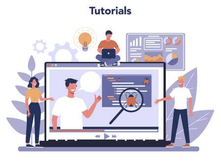 Testing software online service or platform. Application or website