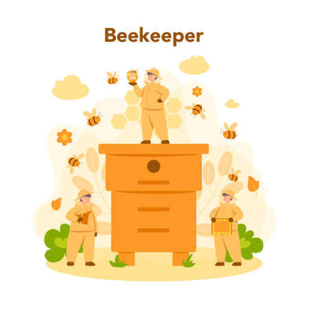 Hiver or beekeeper concept. Professional farmer with hive and honey. Countryside organic product. Apiary worker, beekeeping and honey production. Vector illustration Illustration
