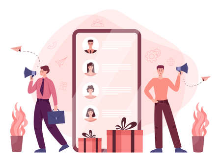 Referral program concept. People making money and working in referral