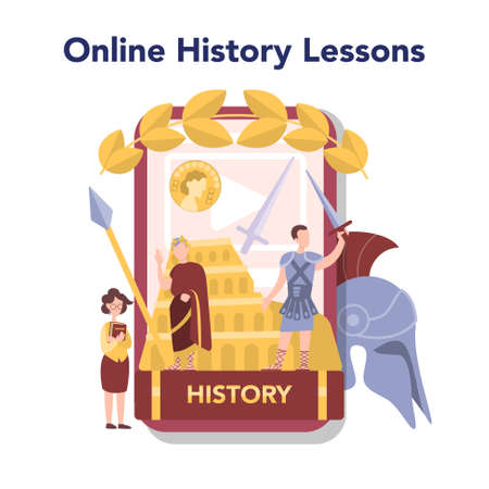 History online education service or platform. History school subject 向量圖像