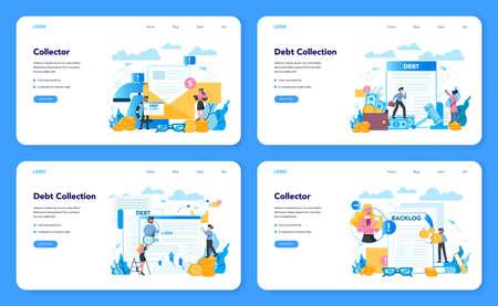 Debt collector web banner or landing page set. Pursuing payment Ilustracje wektorowe