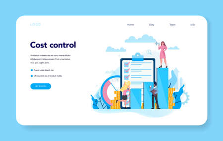Cost control concept web banner or landing page set. Idea of financial