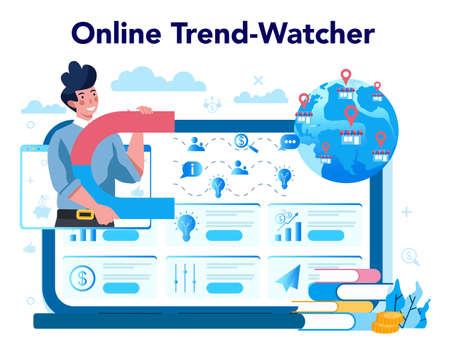 Trendwatcher online service or platform. Webinar, consultation Illustration