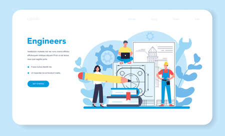 Engineer web banner or landing page. Professional occupation
