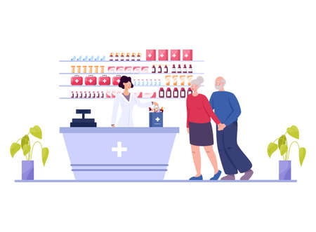 Modern pharmacy interior with visitor. Client order and buy