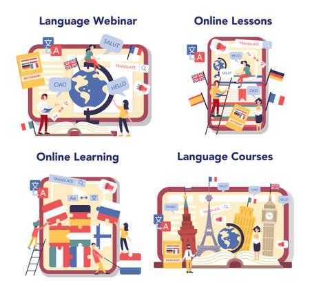Language learning online service or platform set. Study foreign