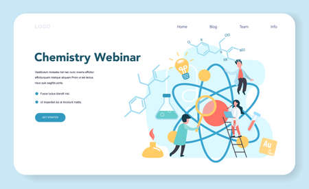 Chemistry studying on webinar or course web banner or landing page Vectores