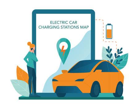 Alternative energy online service or platform set. Idea of ecology Illustration