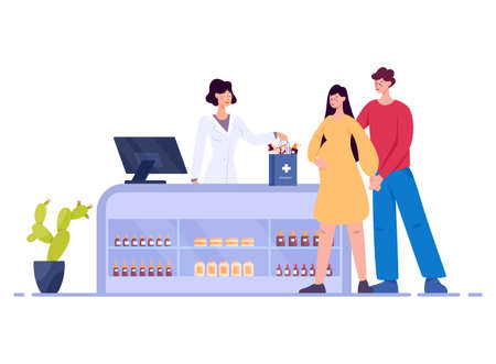 Modern pharmacy interior with visitor. Client order and buy Illustration
