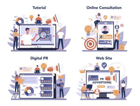 Public relations online service or platform set. Idea of making Ilustración de vector