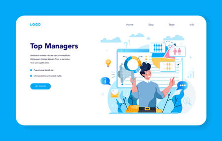 Business top management web banner or landing page. Successful