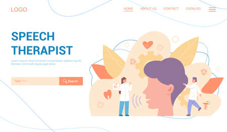 Speech therapist web banner or landing page set. Didactic correction