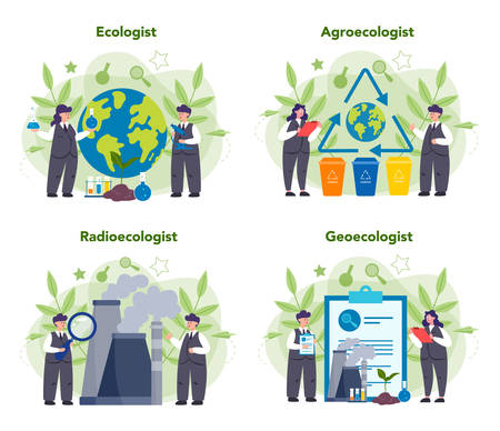 Ecologist taking care of Earth and nature concept. Set of scientist taking care of ecology and environment. Air, soil and water protection. Professional ecological activist. Vector illustration Иллюстрация