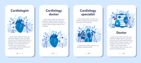 Cardiology mobile application banner set. Doctor deal with