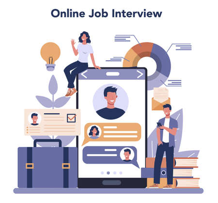 Job interview online service or platform. Idea of employment and hiring. Online interview. Recruitment manager searching. Isolated flat vector illustration