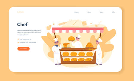 Baker and bakery web banner or landing page. Chef in the uniform