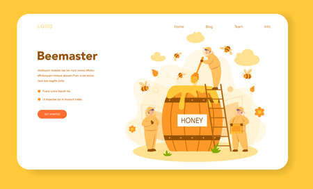 Hiver or beekeeper web banner or landing page. Professional farmer with hive and honey. Countryside organic product. Apiary worker, beekeeping and honey production. Vector illustration