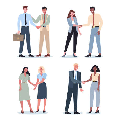 Teamwork concept. Business people shaking hands. Idea of businessmen working together and moving towards success. Partnership and collaboration. Flat abstract vector illustration Ilustracja