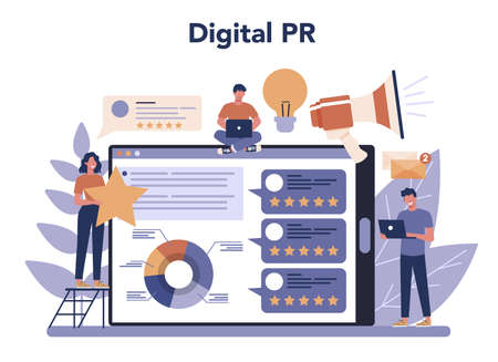 Public relations online service or platform. Idea of making