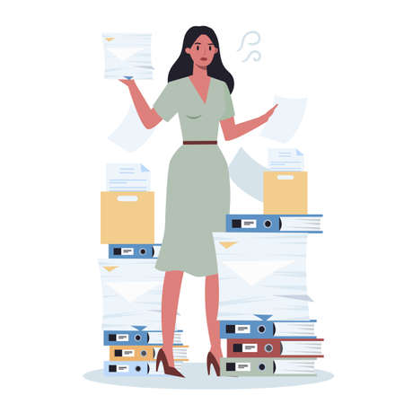 Office person with a lot of paperwork. Deadline and busy lifestyle concept. Idea of many work and few time. Employee stressing in office. Business problems. Flat vector illustration