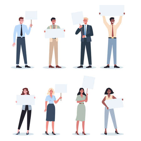 Office people holding banner set. Collection of worker character with blank empty board for message. Advertising concept. Isolated vector illustration in cartoon style