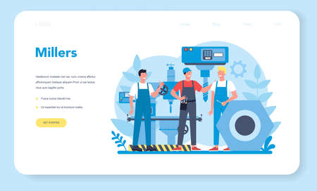Miller and milling web banner or landing page. Engineer drilling Ilustracja