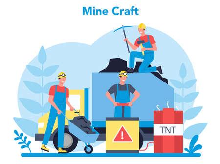 Coal or minerals mining concept. Worker in uniform and helmet