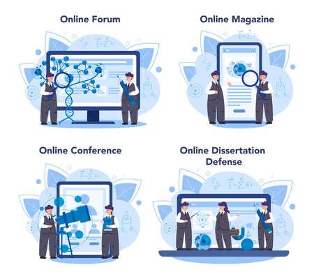 Physics online service or platform set. Scientist explore electricity