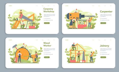 Woodworker or carpenter concept web banner or landing page set.